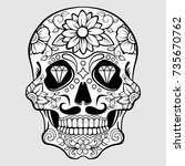 sugar skull with floral pattern ... | Shutterstock .eps vector #735670762