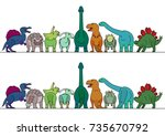colorful dinosaur border | Shutterstock .eps vector #735670792