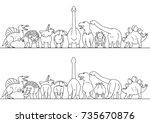 dinosaur line art border | Shutterstock .eps vector #735670876