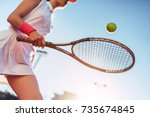 sport young woman on tennis... | Shutterstock . vector #735674845