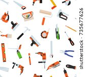 seamless pattern with tools for ... | Shutterstock .eps vector #735677626
