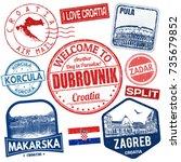 set of travel grunge stamps... | Shutterstock .eps vector #735679852