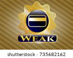 gold badge or emblem with... | Shutterstock .eps vector #735682162