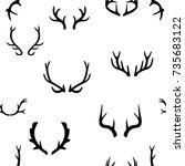 seamless pattern with deer... | Shutterstock .eps vector #735683122