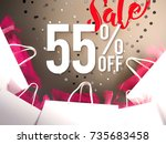 55  off discount promotion sale ... | Shutterstock . vector #735683458