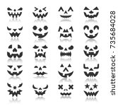 halloween face icon set.... | Shutterstock .eps vector #735684028