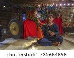 a wayang puppet maker in bogor  ...   Shutterstock . vector #735684898