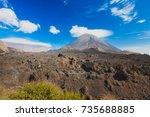 pico do fogo  volcano on the...   Shutterstock . vector #735688885