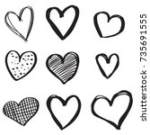 set of six handdrawn heart.... | Shutterstock .eps vector #735691555