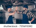 cheerful successful... | Shutterstock . vector #735693382