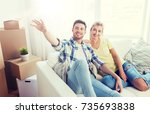 people  repair and real estate... | Shutterstock . vector #735693838