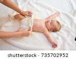 mother taking care of little... | Shutterstock . vector #735702952