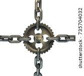 gear on the steel chain... | Shutterstock . vector #735704032