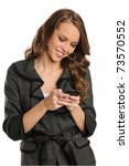 Young Businesswoman text messaging on the cell phone isolated on a white background - stock photo