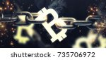 3d bitcoin symbol on the steel... | Shutterstock . vector #735706972