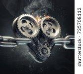 concept mechanical heart v8 on... | Shutterstock . vector #735708112
