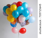 many colorful balloons on white ... | Shutterstock . vector #735715645