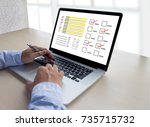 businessman survey and results... | Shutterstock . vector #735715732