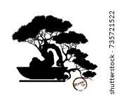bonsai tree. black silhouette...   Shutterstock .eps vector #735721522