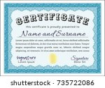 light blue certificate template.... | Shutterstock .eps vector #735722086