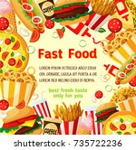 fast food poster with frame of... | Shutterstock .eps vector #735722236