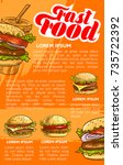 fast food burger and drink menu ... | Shutterstock .eps vector #735722392