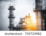 close up industrial zone. plant ... | Shutterstock . vector #735723982