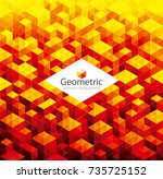 abstract geometric pattern red...   Shutterstock .eps vector #735725152