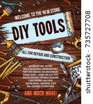repair and diy tools banner for ... | Shutterstock .eps vector #735727708