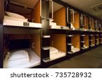 japanese capsule hotel  tokyo ... | Shutterstock . vector #735728932