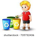 vector illustration of boy... | Shutterstock .eps vector #735732436