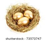 Three Golden Hen's Eggs In The...