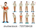 cartoon business man do... | Shutterstock .eps vector #735738418
