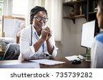 patient is meeting a doctor | Shutterstock . vector #735739282