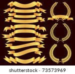 Vector Gold  Banner And Laurel...