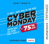 cyber monday super sale. up to... | Shutterstock .eps vector #735741622