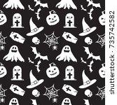 halloween seamless pattern... | Shutterstock .eps vector #735742582