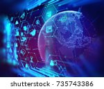 fintech icon  on abstract... | Shutterstock . vector #735743386