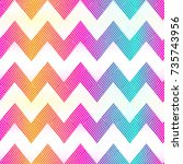 rainbow color zigzag seamless... | Shutterstock .eps vector #735743956