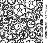 monochrome clockwork seamless... | Shutterstock .eps vector #735743962