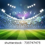 lights at night and football... | Shutterstock . vector #735747475