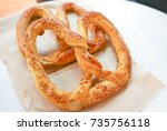 pretzel or german bread | Shutterstock . vector #735756118