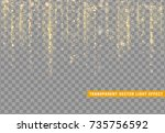 glowing lights golden glitter.... | Shutterstock .eps vector #735756592