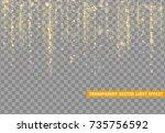 glowing lights golden glitter.... | Shutterstock .eps vector #735756592