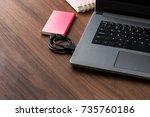 red external hard drive  hdd ... | Shutterstock . vector #735760186