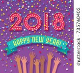 2018 happy new year card with... | Shutterstock .eps vector #735760402