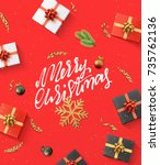 merry christmas background.... | Shutterstock .eps vector #735762136