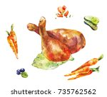 chicken legs. watercolor... | Shutterstock . vector #735762562