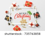 merry christmas background.... | Shutterstock .eps vector #735763858