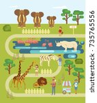 Zoo Infographic Map With...